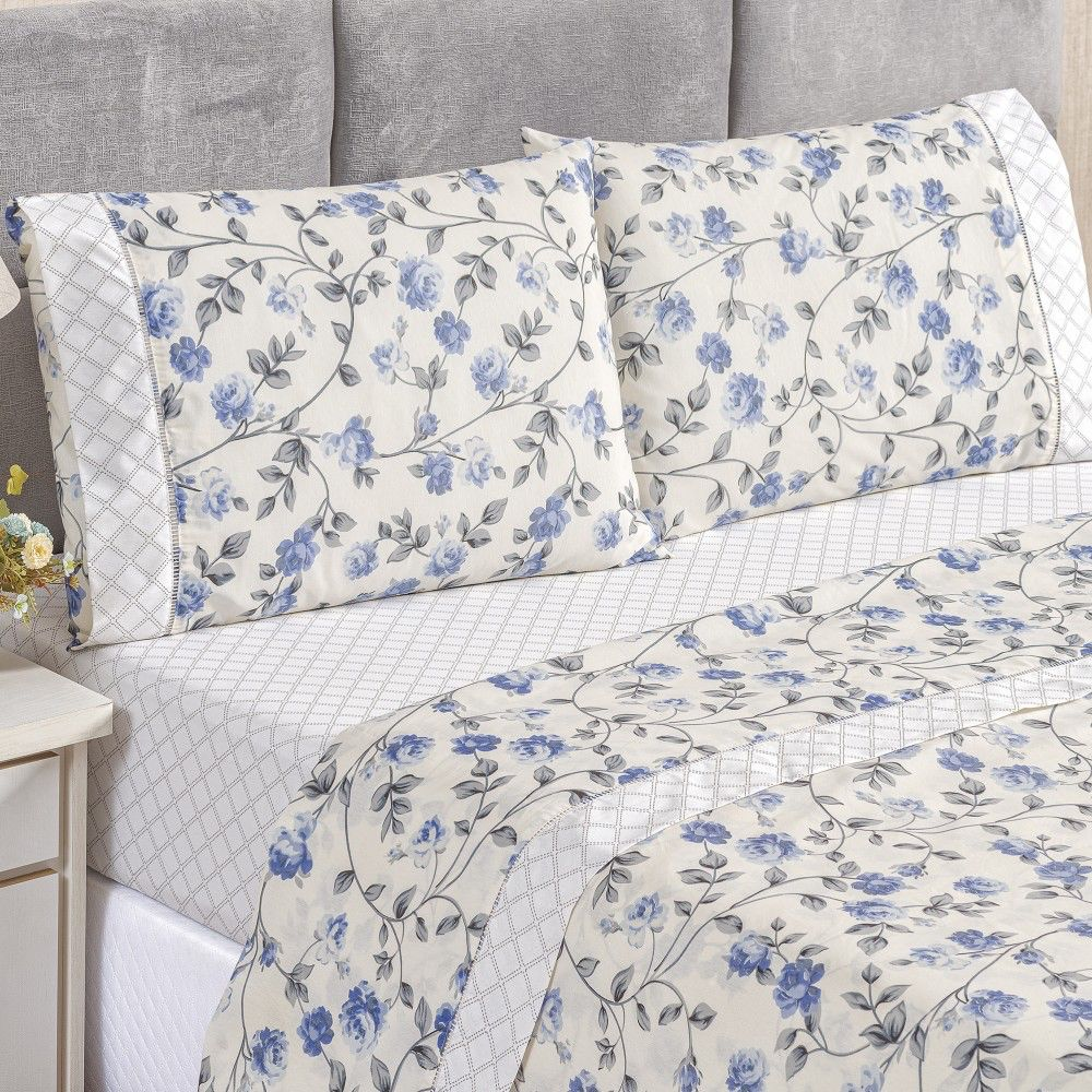 Jogo de Lençol Casal Estampado 180 Fios 4 peças - Floral Azul