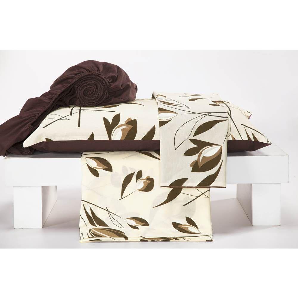 Jogo de Lençol Casal Estampado Percal 180 Fios 4 peças Monterey - Florença Tabaco