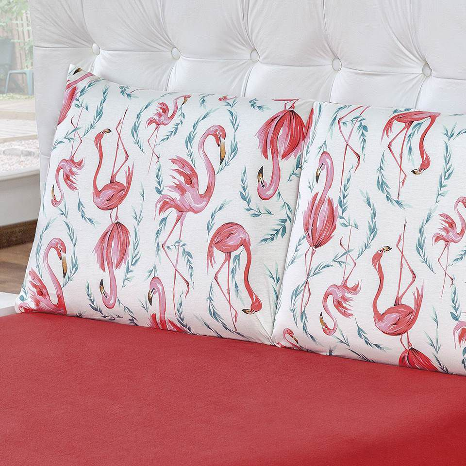 Jogo de Lençol Casal Malha 100% Algodão 3 Peças - Flamingo