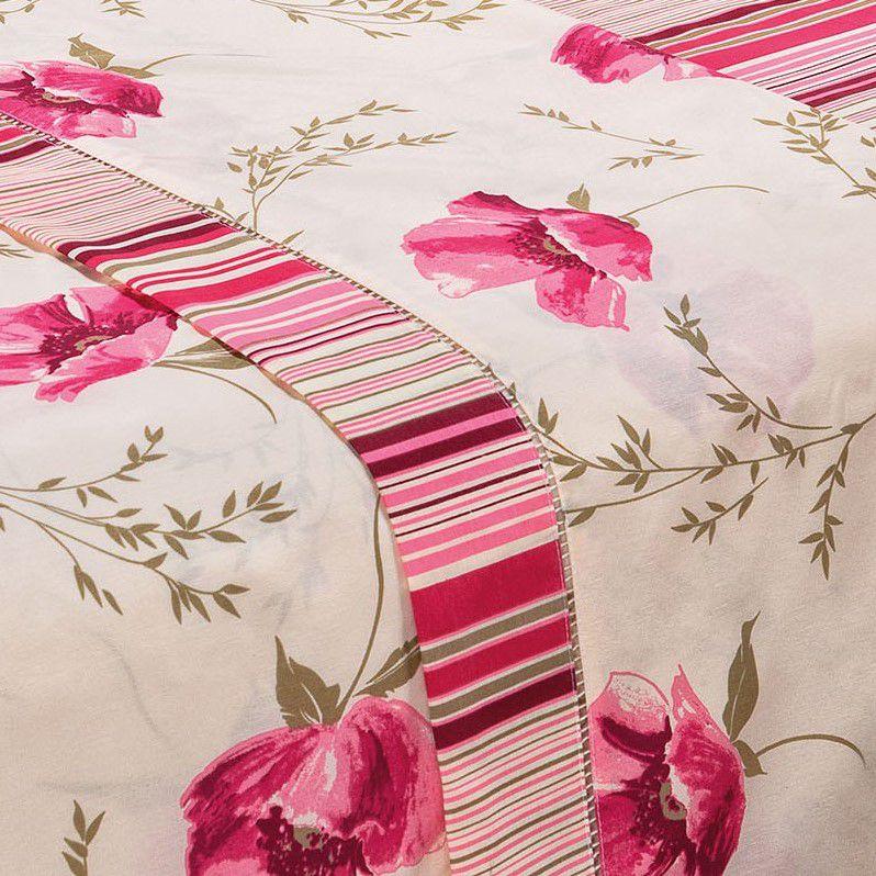 Jogo de Lençol King Estampado 180 Fios 4 Peças - Floral Pink