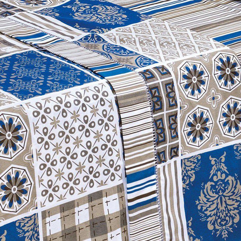 Jogo de Lençol King Estampado 180 Fios 4 Peças -Patchwork Azul