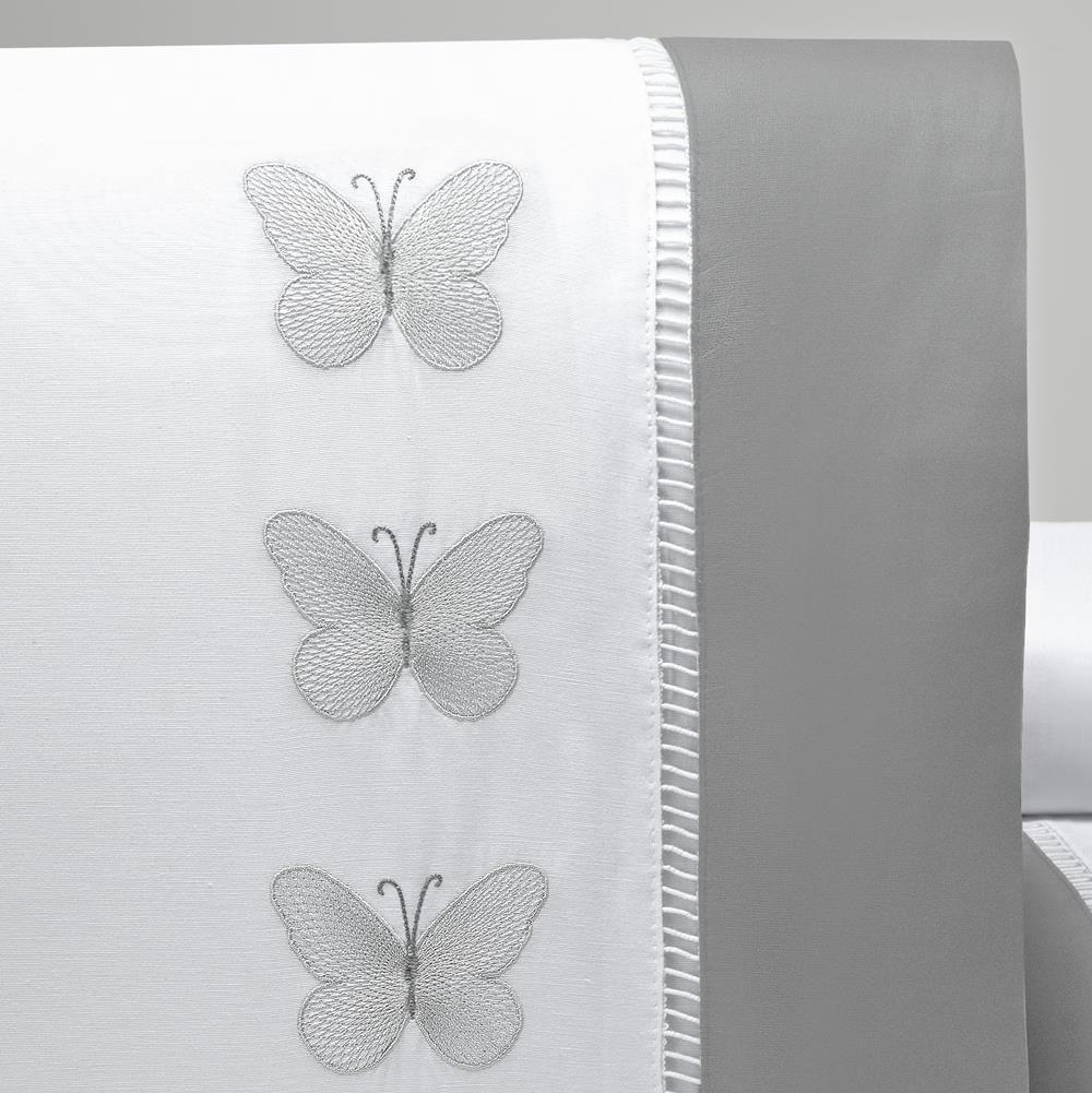 Jogo de Lençol Queen Bordado Papillons 4 Peças - Branco