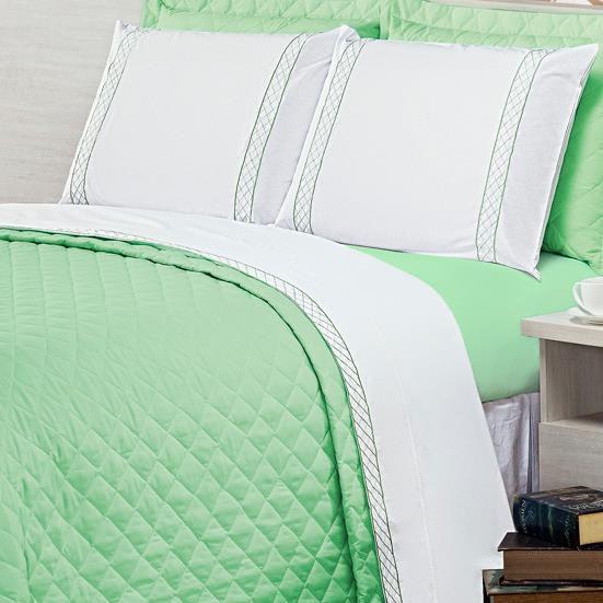 81b670affb Jogo de Lençol Queen Casualle 4 Peças - Verde - Casa Modelo Enxovais
