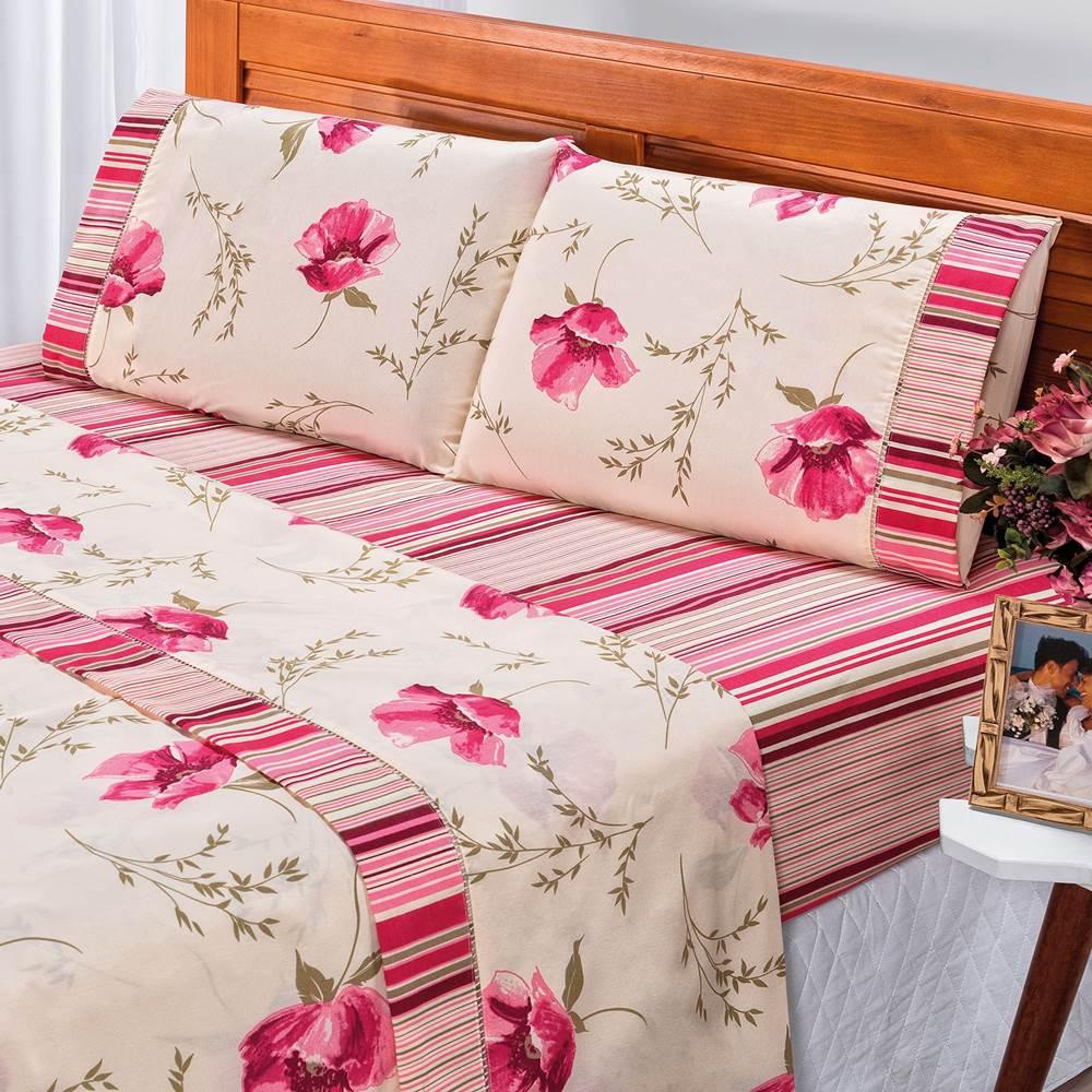 Jogo de Lençol Queen Estampado 180 Fios 4 Peças - Floral Pink