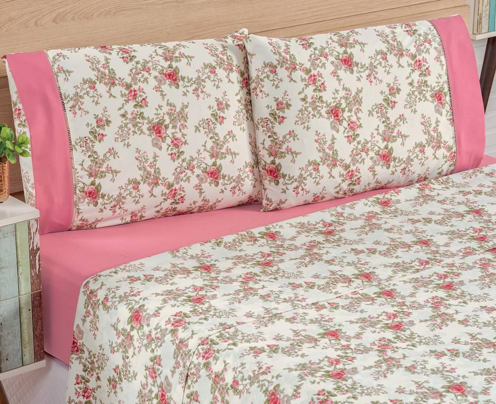 Jogo de Lençol Queen Estampado 4 peças Naturalle - Floral Rosa
