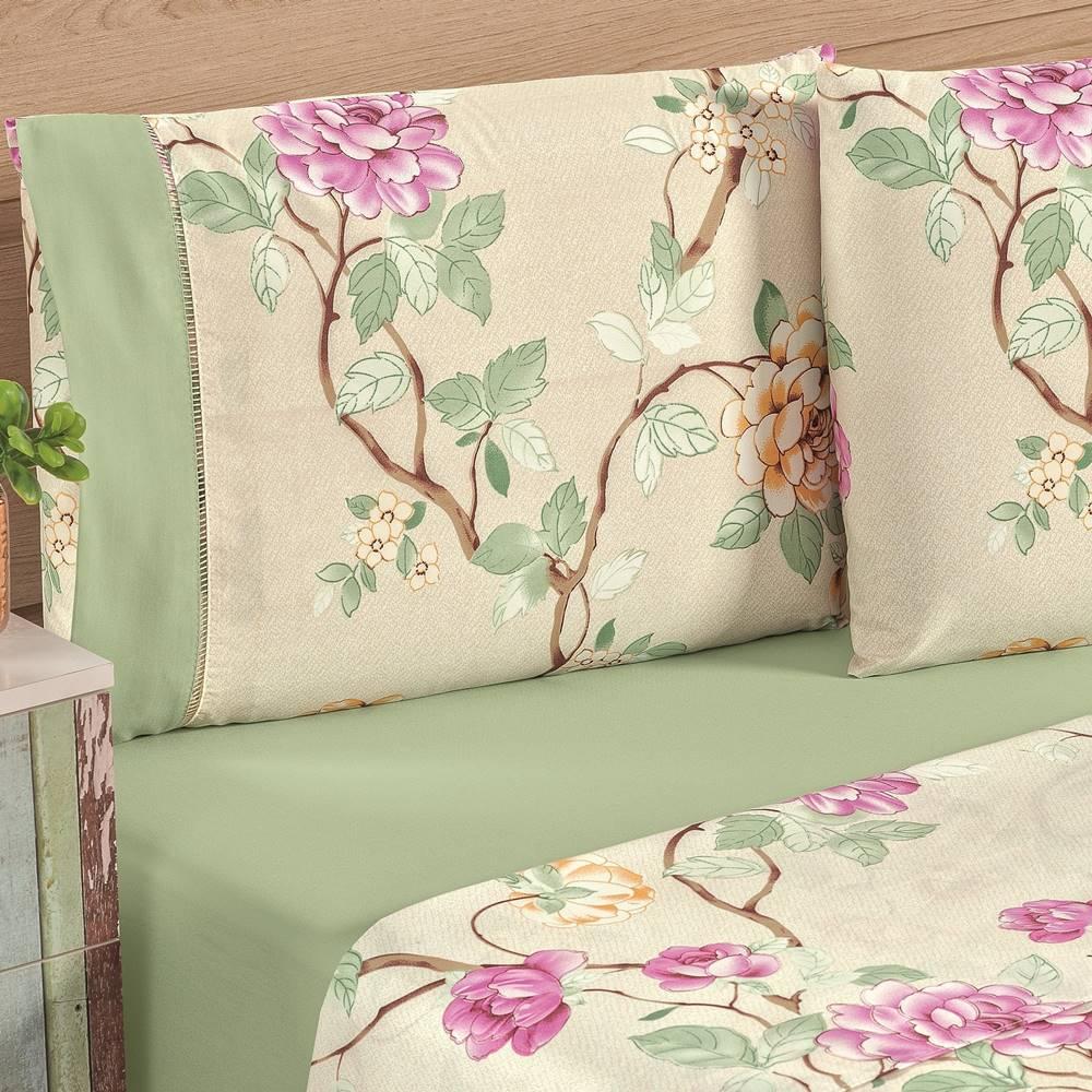 Jogo de Lençol Queen Estampado 4 peças Naturalle - Verde Floral