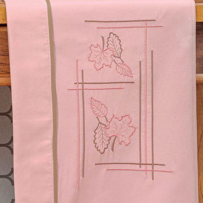 Jogo de Lençol Queen Outono Bordado 4 Peças - Rosê