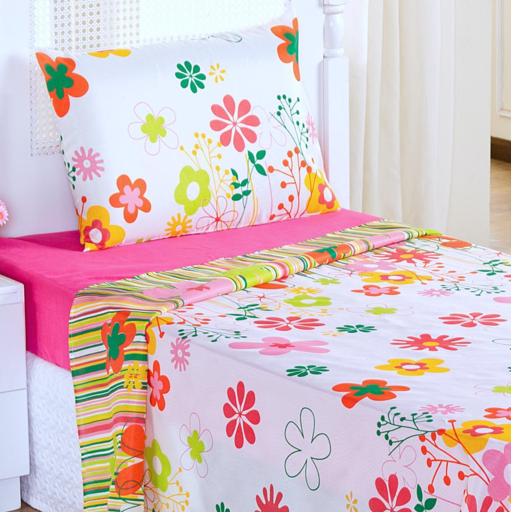 Jogo de Lençol Solteiro Estampado Infantil 3 Peças - Garden Pink