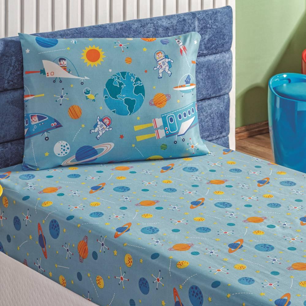 Jogo de Lençol Solteiro Kids Infantil Estampado 2 peças - Astronauta