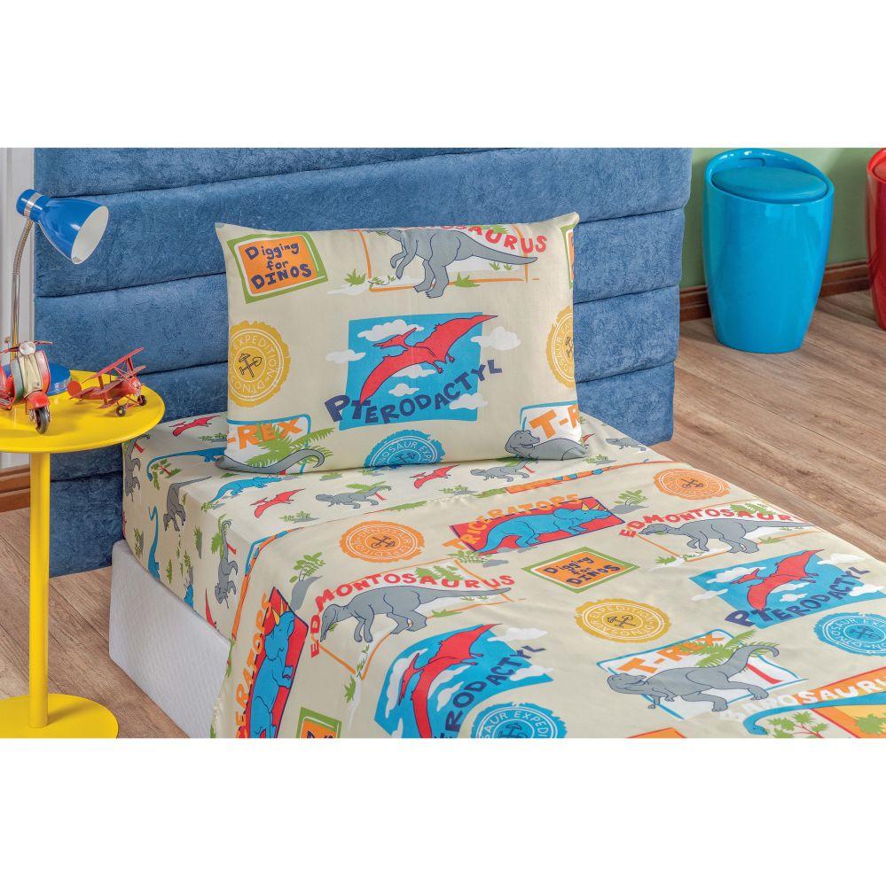 Jogo de Lençol Solteiro Kids Infantil Estampado 3 peças - Dino