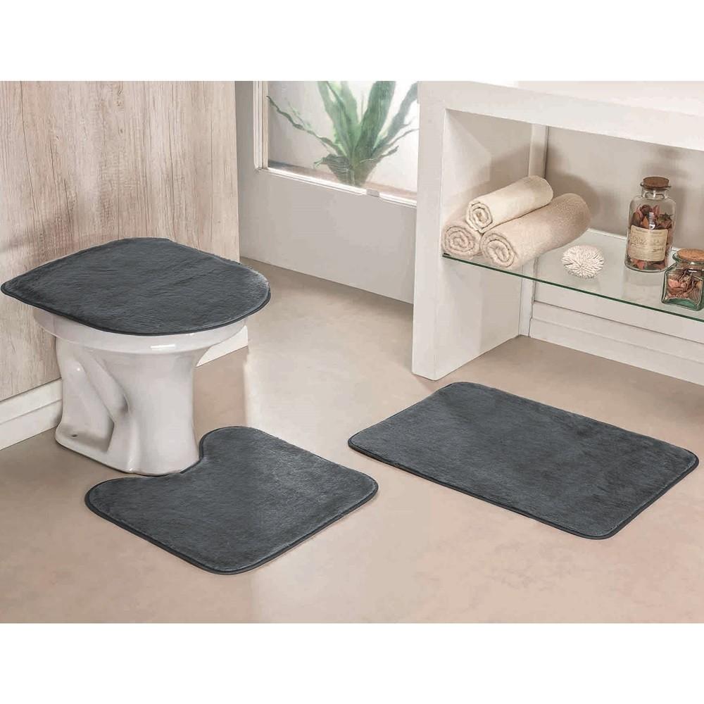 Jogo de Tapetes para Banheiro Antiderrapante 3 Peças Cinza