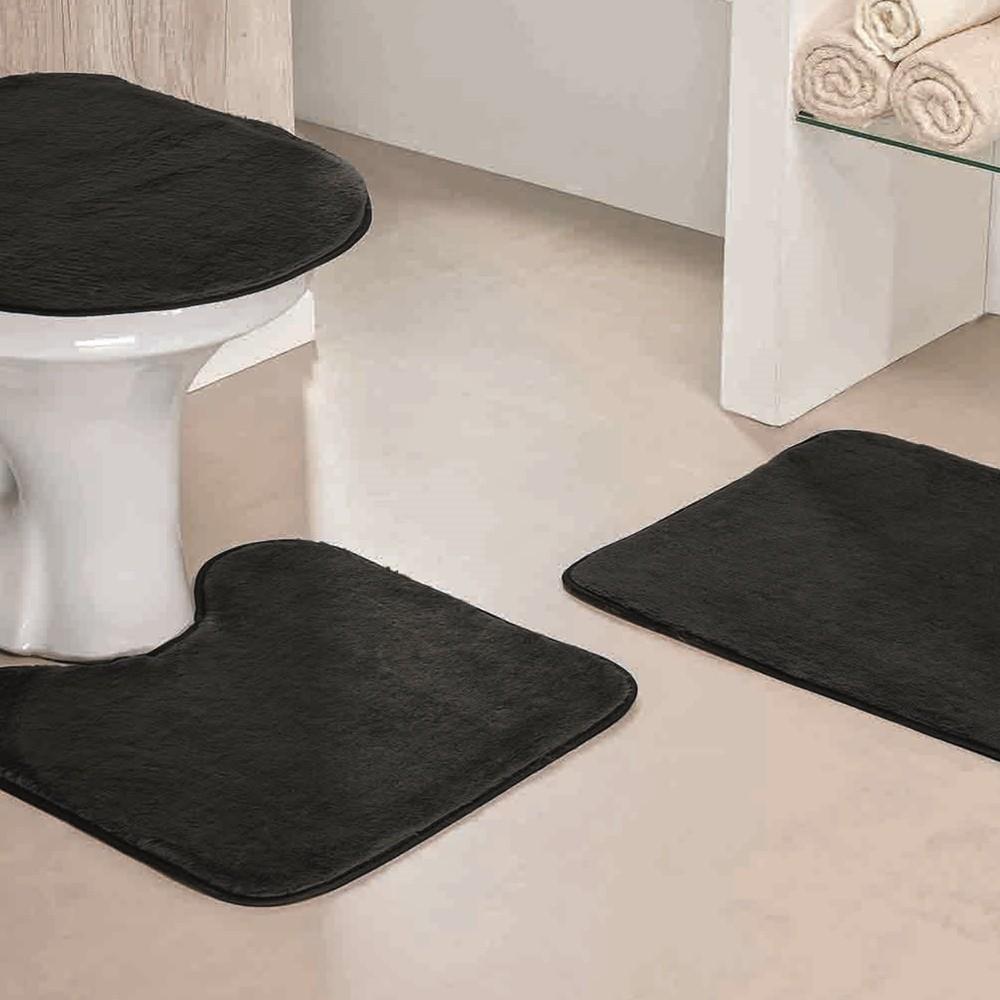 Jogo de Tapetes para Banheiro Antiderrapante 3 Peças Preto