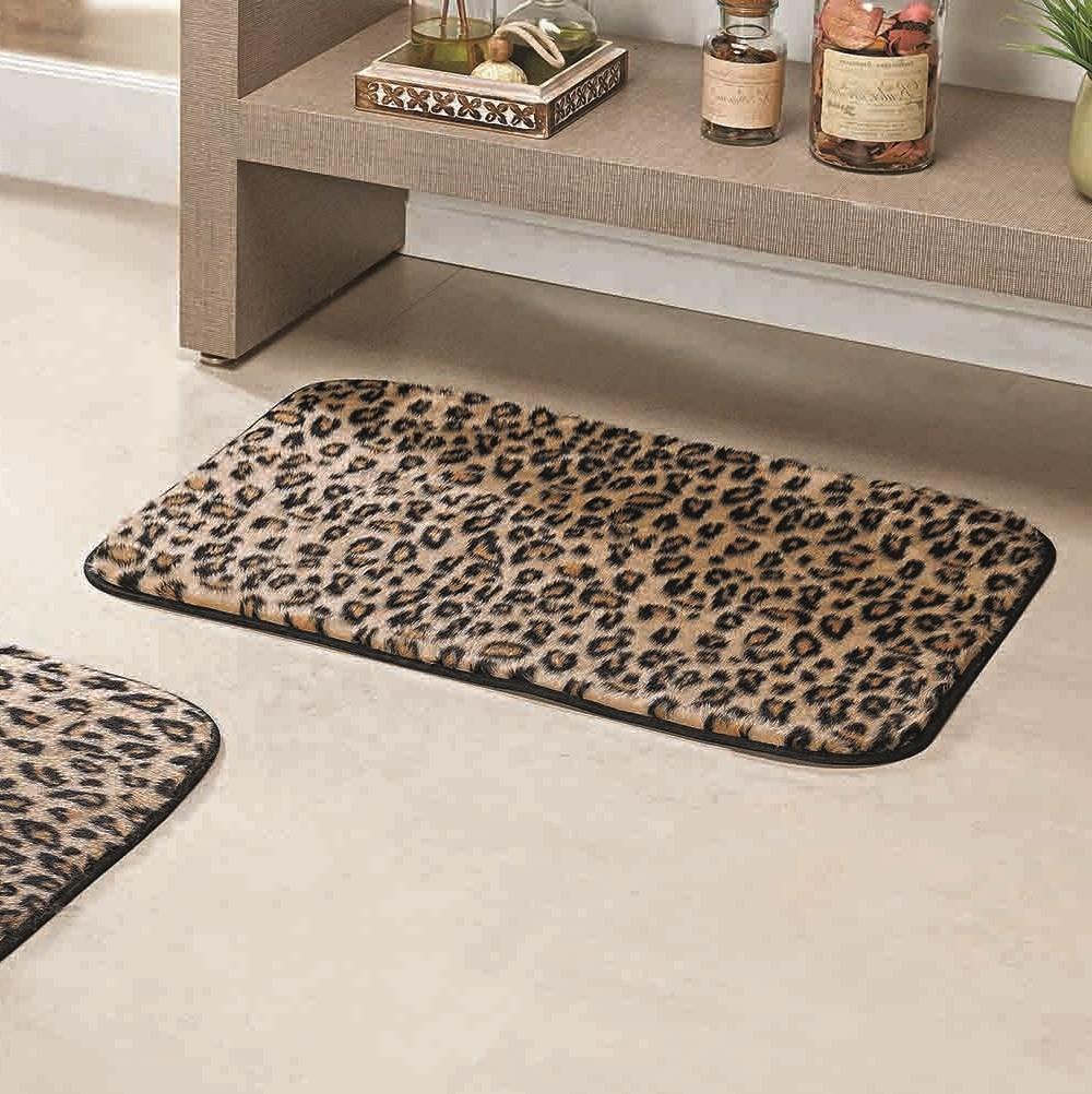 Jogo de Tapetes para Banheiro Antiderrapante Leopardo 3 Peças