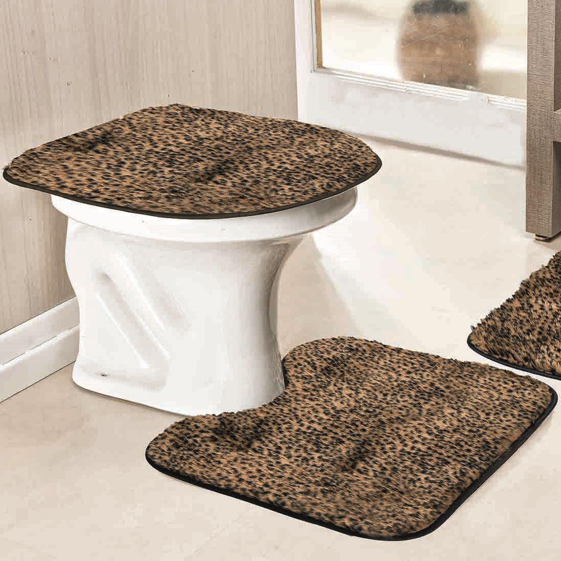 Jogo de Tapetes para Banheiro Antiderrapante Oncinha 3 Peças