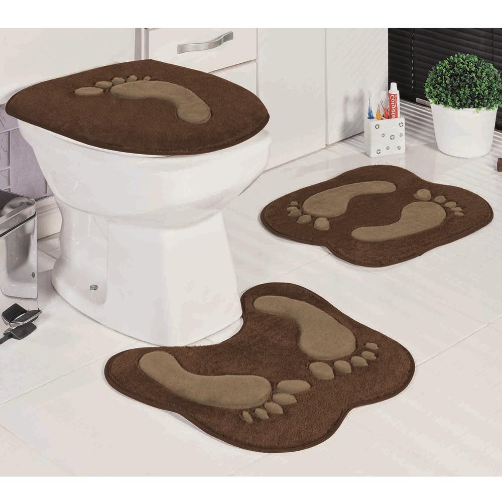 Jogo de Tapetes para Banheiro Antiderrapante Pegada Café 3 Peças