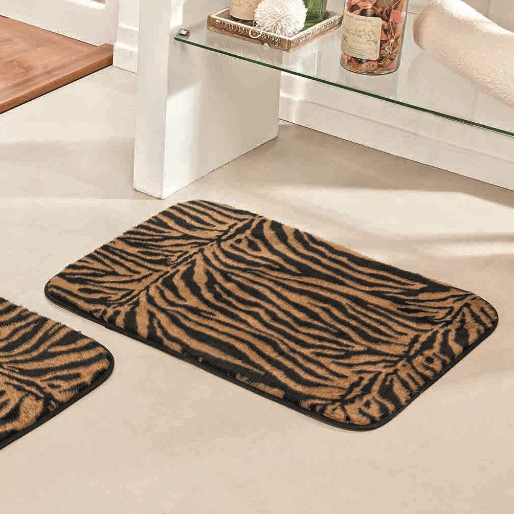 Jogo de Tapetes para Banheiro Antiderrapante Tigre 3 Peças