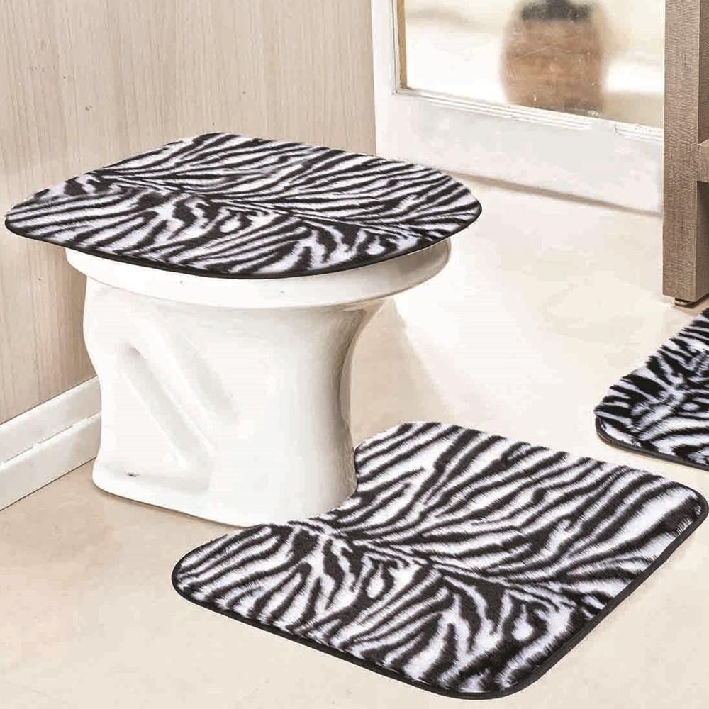 Jogo de Tapetes para Banheiro Antiderrapante Zebra 3 Peças
