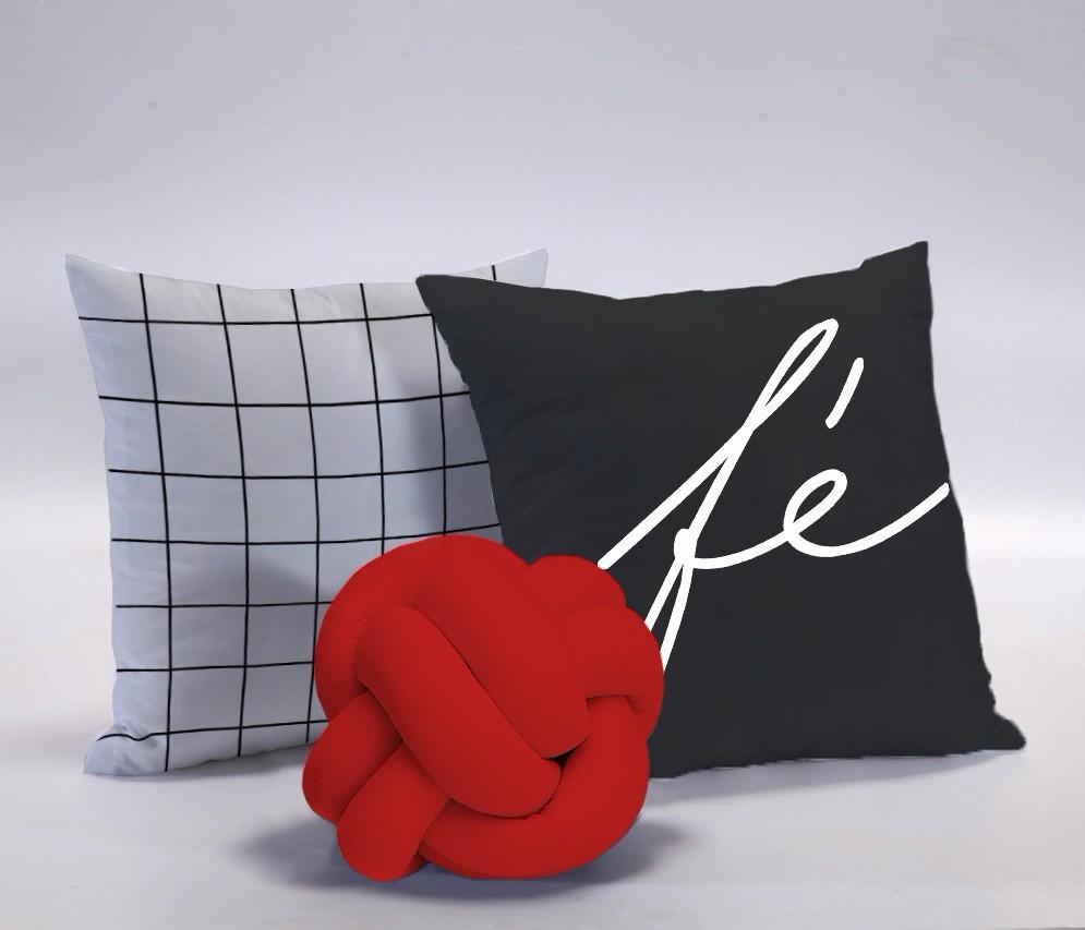 Kit Almofadas Fé 3 peças - Vermelho