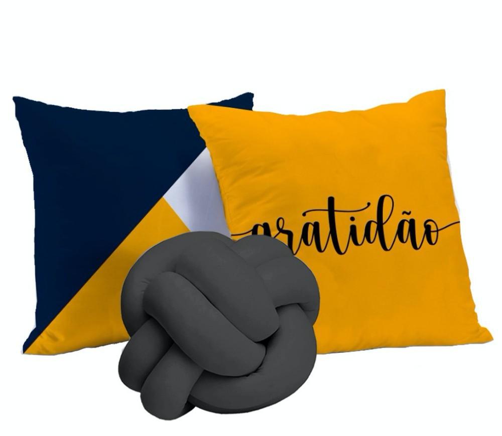Kit Almofadas Gratidão 3 peças - Amarelo