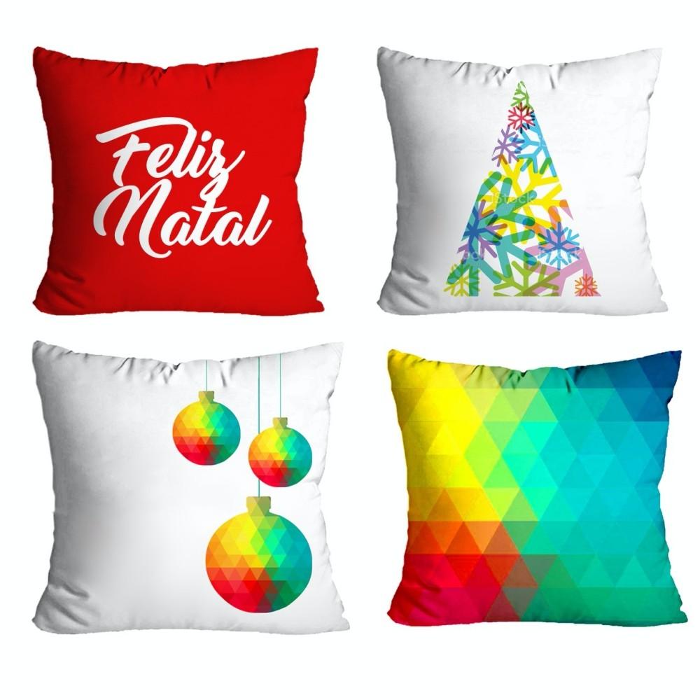 Kit Capas de Almofada Natal 4 peças - Amarelo