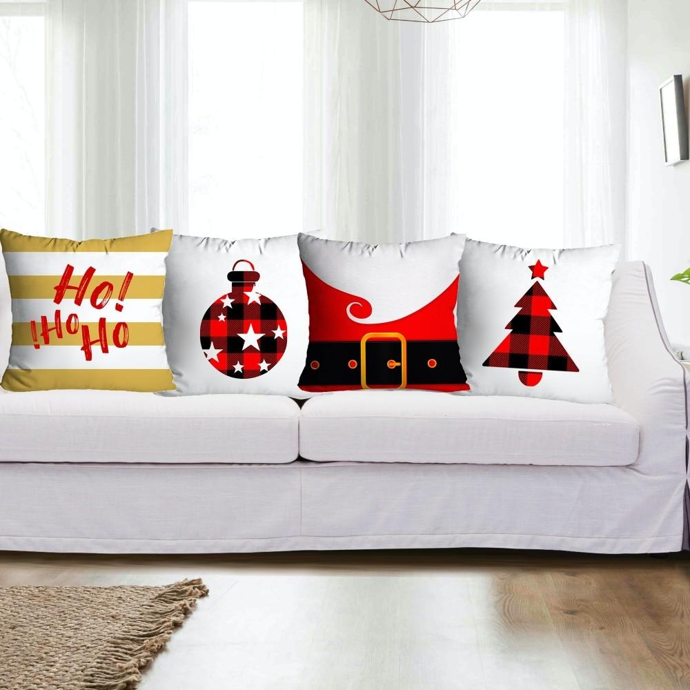 Kit Capas de Almofada Natal 4 peças - Branco