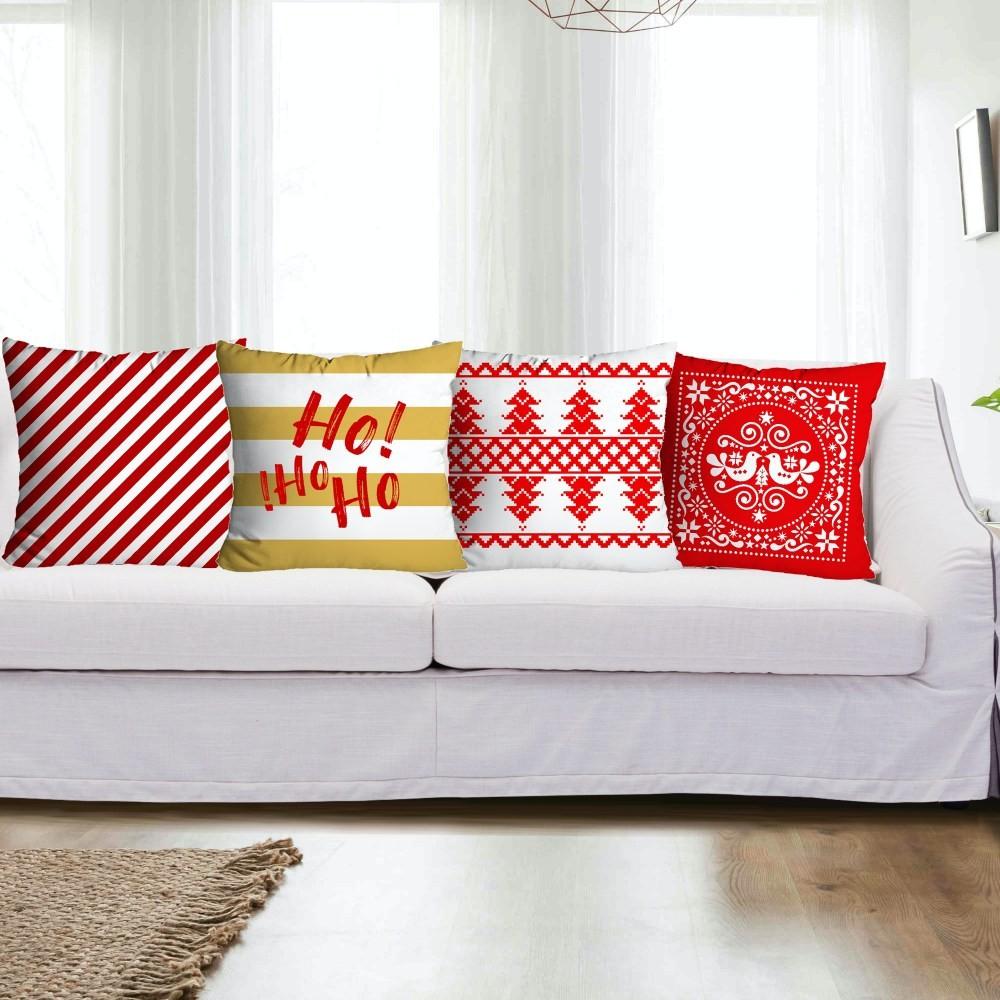 Kit Capas de Almofada Natal 4 peças - Vermelho