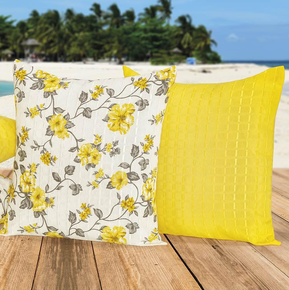 Kit Capas para Almofadas Floral Amarelo 45cm x 45cm - 4 Peças