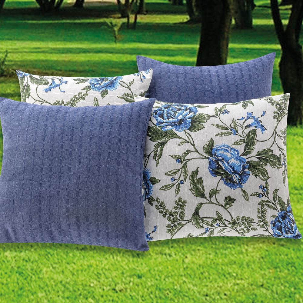 ea21309232dd1e Kit Capas para Almofadas Floral Azul 45cm x 45cm - 4 Peças