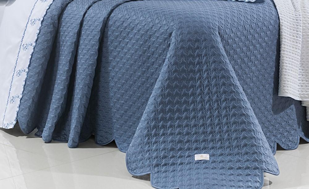 Kit Cobre Leito Bordado Queen Size Priore Azul  Marinho  3 Peças - 400 fios - fio egípcio