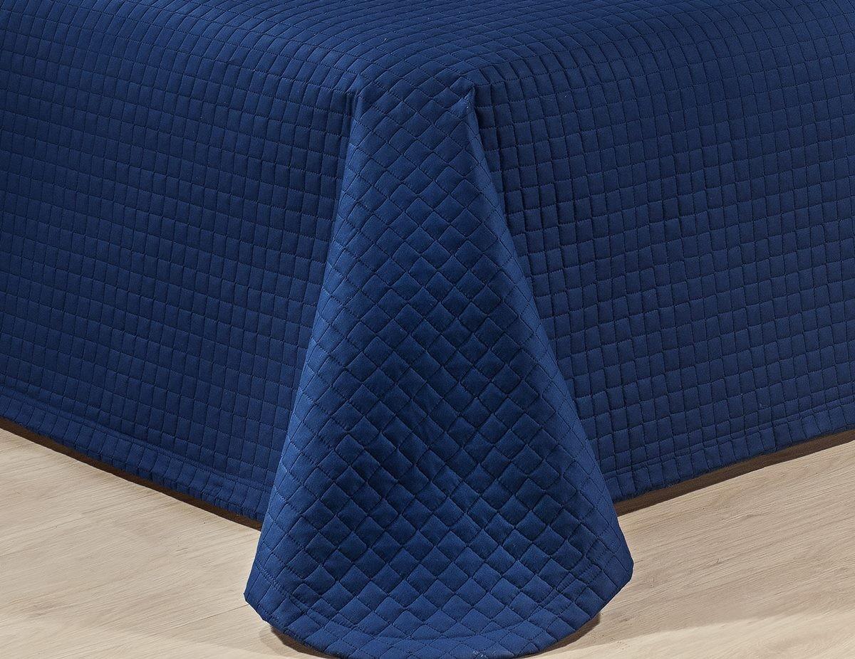 Kit Cobre Leito Casal Queen Size Azul Marinho Pratic 100% Algodão 3 Peças