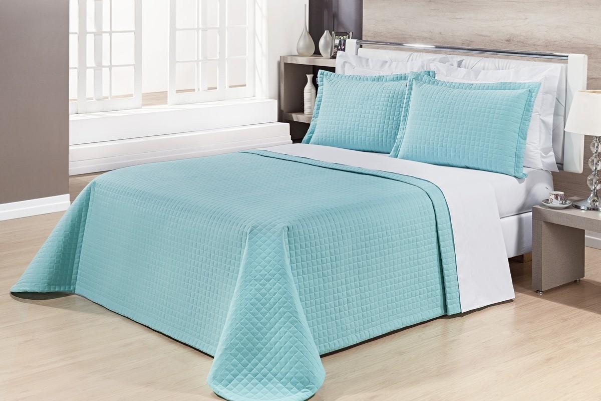 Kit Cobre Leito Casal Queen Size Azul Tiffany Pratic 100% Algodão 3 Peças