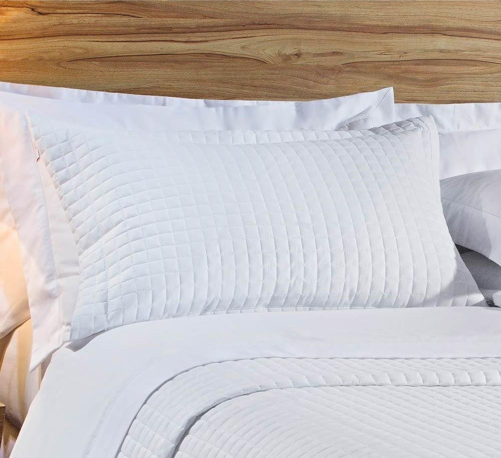 Kit Cobre Leito Casal Queen Size Branco Pratic 100% Algodão 3 Peças
