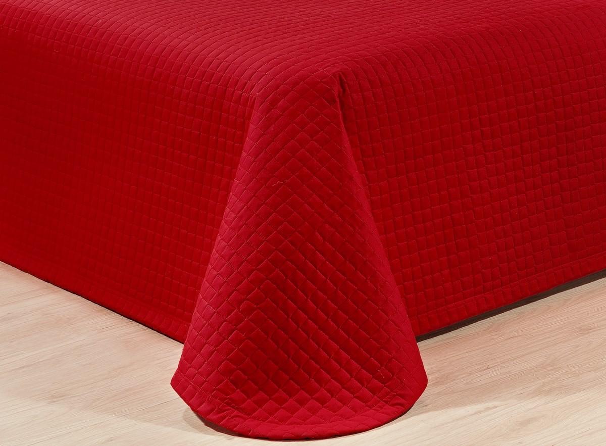 Kit Cobre Leito Casal Queen Size Vermelho Pratic 100% Algodão 3 Peças
