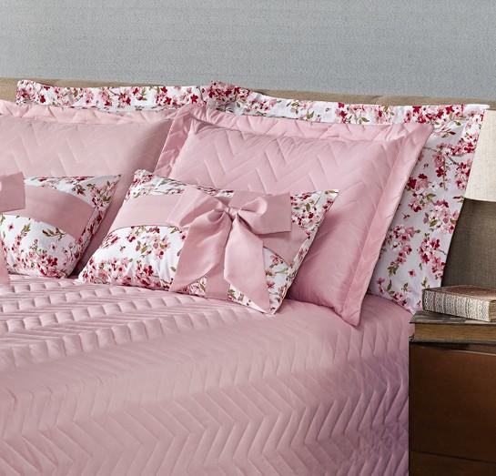 Kit Cobre Leito Casal Requinte Acompanha Almofadas 7 peças - Rosa