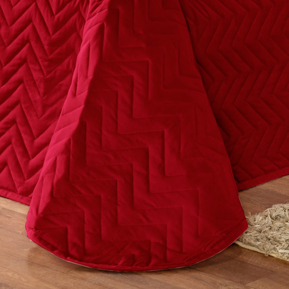 Kit Cobre Leito Casal Requinte Acompanha Almofadas 7 peças - Vermelho