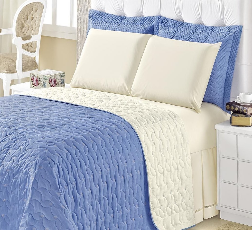 Kit Cobre Leito Dupla Face Queen Size 4 peças Onix Azul Mar/Palha com lençol