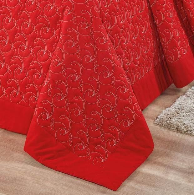 Kit Cobre Leito Queen Bordado 180 Fios Montreal 6 peças - Vermelho