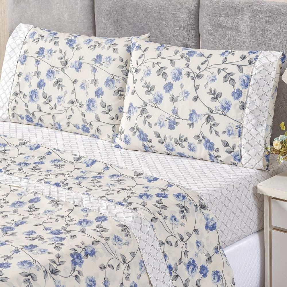 Kit Cobre Leito Queen Percal 180 Fios + Jogo de Lençol - 7 Peças Floral Azul