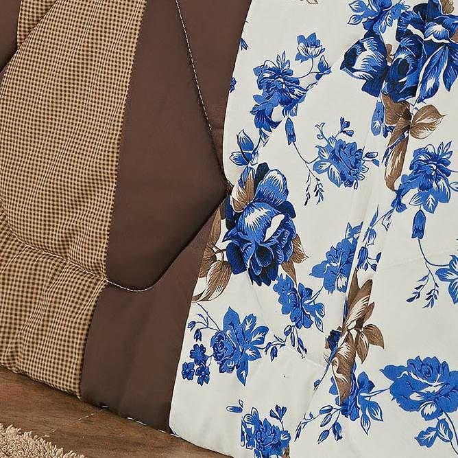 Kit Edredom King Estampado Vitória 6 Peças - Floral Azul
