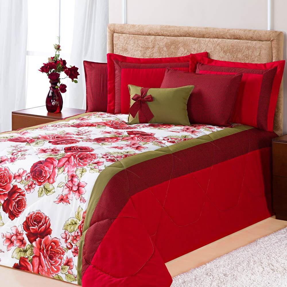 Kit Edredom Queen Estampado Savana 6 Peças - Floral Vermelho