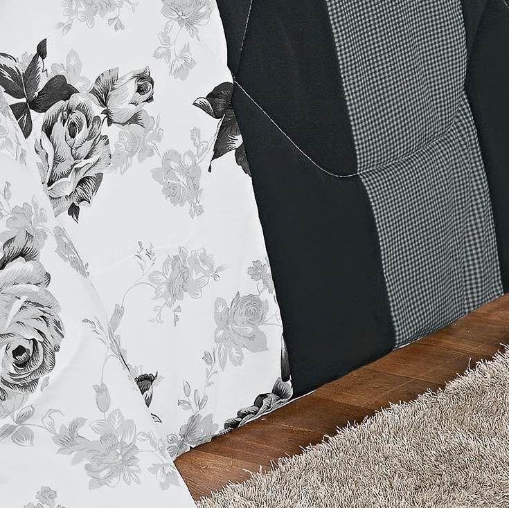 Kit Edredom Queen Estampado Vitória 6 Peças - Floral Preto