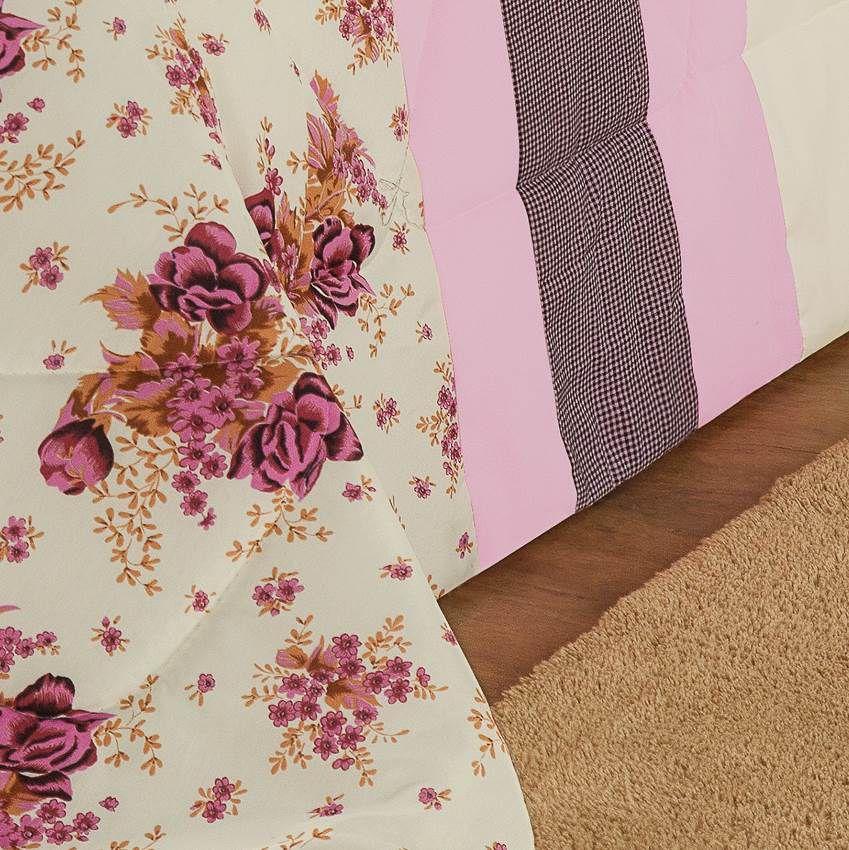 Kit Edredom Queen Estampado Vitória 6 Peças - Floral Rosa
