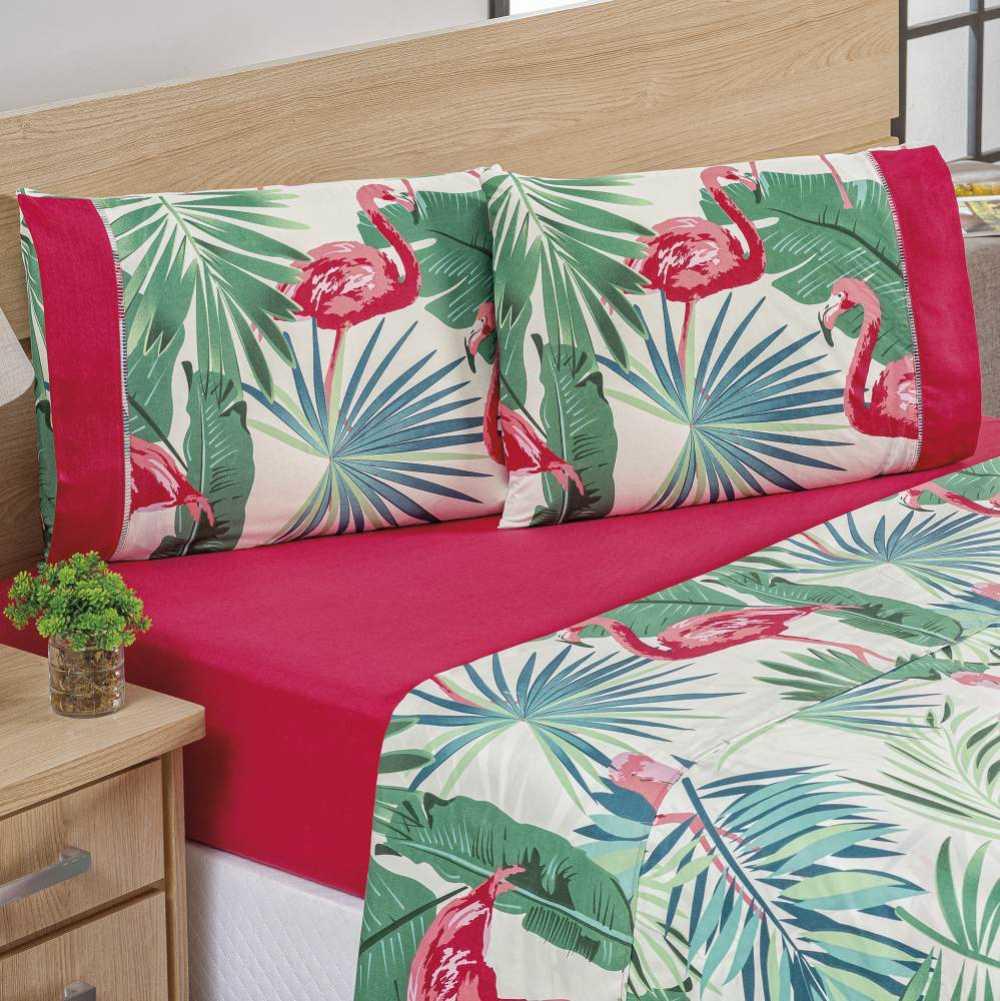 Kit Naturale Queen Edredom + Jogo de Lençol Micropercal 200 Fios - 7 peças Flamingo