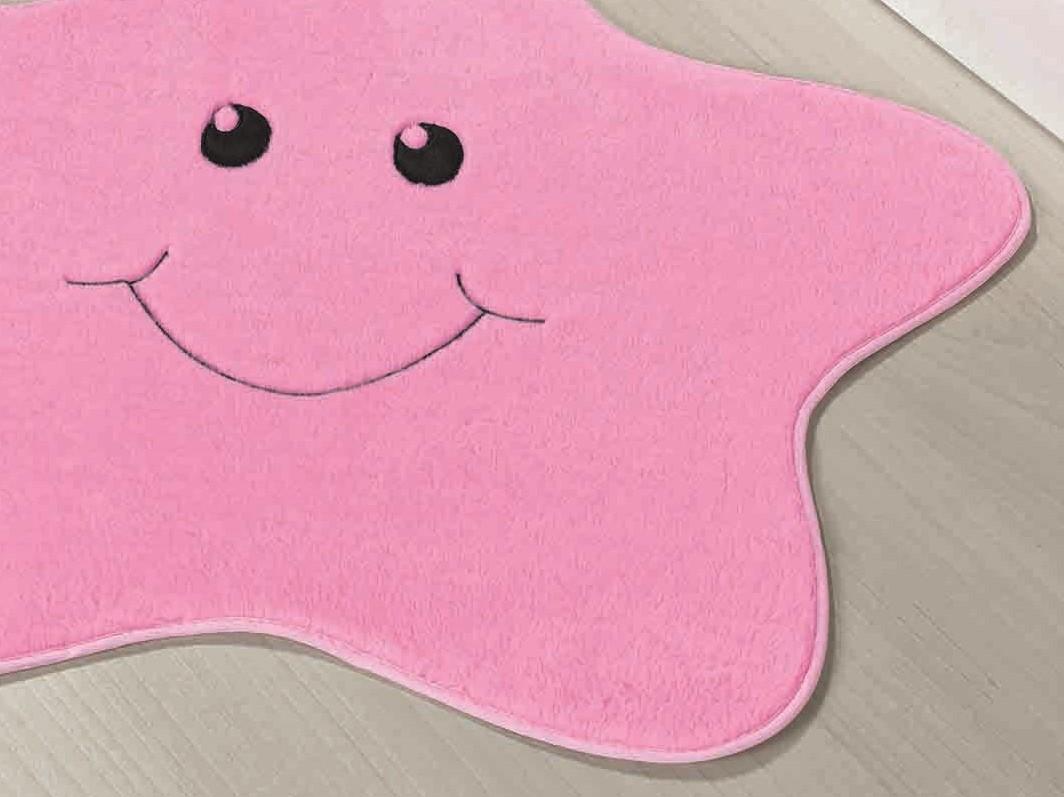 Tapete Infantil Formato Estrelinha Rosa 78cm x 70cm Pelúcia