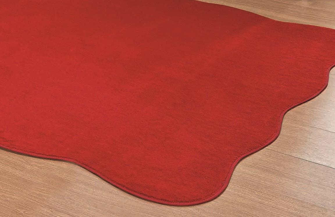Tapete para Sala e Quarto Recorte Ondulado Vermelho - 1,33m x 1,33m