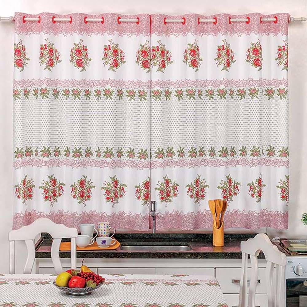 Toalha de Mesa 1,50m x 1,40m + Cortina 2m Estampadas 2 peças - Flores