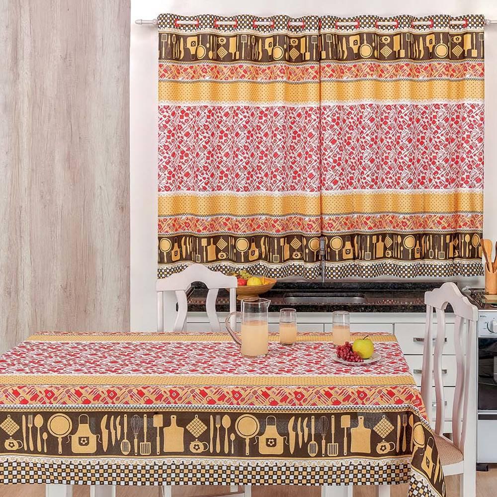 Toalha de Mesa 1,50m x 1,40m + Cortina 2m Estampadas 2 peças - Talheres