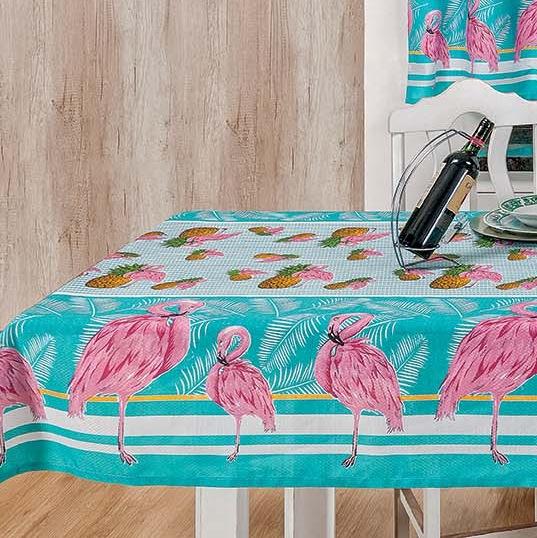 Toalha de Mesa 2,00m x 1,40m Estampada 1 peça - Flamingo