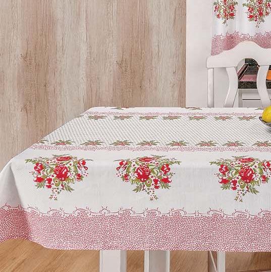 Toalha de Mesa 2,00m x 1,40m Estampada 1 peça - Flores