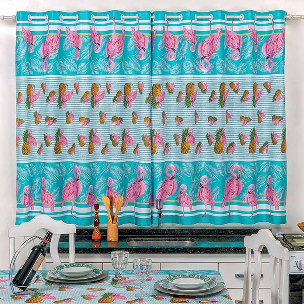 Toalha de Mesa 2,50m x 1,40m + Cortina 2m Estampadas 2 peças - Flamingo